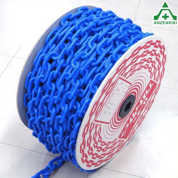 プラスチックチェーン 青色 (φ6mm×40m) プラチェーン PE 樹脂 ブルー