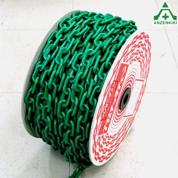 プラスチックチェーン 緑色 (φ6mm×40m) プラチェーン PE 樹脂 グリーン