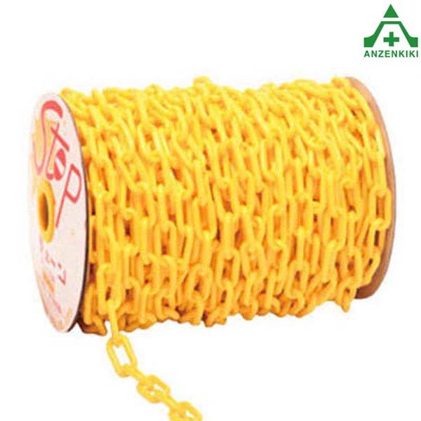 太いプラスチックチェーン 黄色 (φ8mm×50m) (メーカー直送/代引き決済不可) プラチェーン PE 樹脂 イエロー