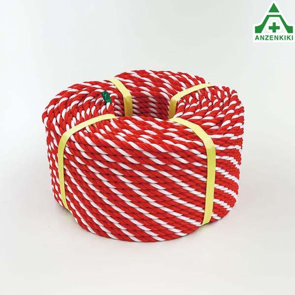 871-641 トラロープ (紅白ロープ) 約9φ×100m 材質:ポリエチレン (メーカー直送/代引き決済不可) 区画整理 バリケード 標識ロープ