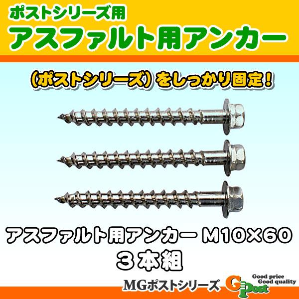限定モデル ポストシリーズをしっかり固定 アスファルト用アンカーM10×60 高級 3本組