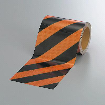 ユニット 374-85 高輝度テープ(橙/黒)150幅×10m