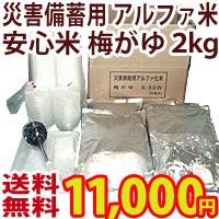 安心米(アルファ化米) 梅がゆ2kg<50食分>災害備蓄・炊出し用 おかゆ アルファ米101502