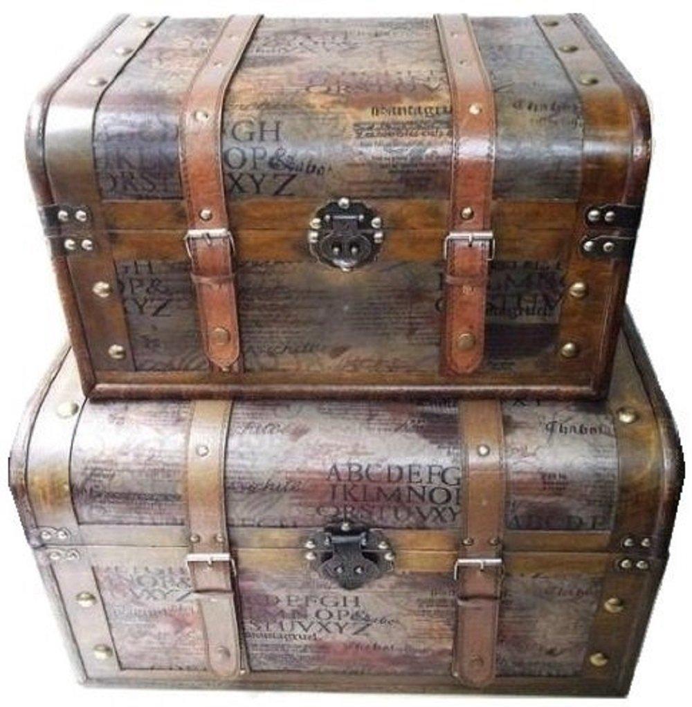 鍵付き 海賊木箱 アンティーク宝箱 (特大サイズと大サイズ のセット)レトロ カリビアン 財宝 パイレーツ 収納箱
