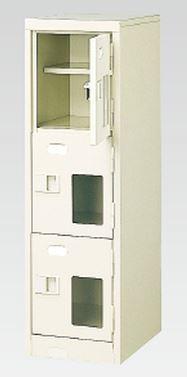 3人用シューズボックス(窓付き)(中棚付き)(鍵付き)(3段×1列) 【地域限定送料無料】 /MI-BST1-3HMXK(N)