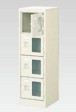 4人用シューズボックス(窓付き)(中棚なし)(鍵付き)(4段×1列) 【地域限定送料無料】 /MI-BST1-4WMXK(N)