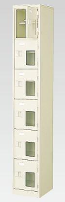 6人用シューズボックス(窓付き)(中棚付き)(鍵付き)(6段×1列) 【地域限定送料無料】 /MI-BST1-6HMXK(N)