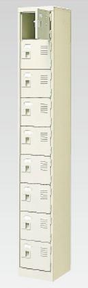 9人用シューズボックス(中棚なし)(鍵付き)(9段×1列) 【地域限定送料無料】 /MI-BST1-9WK(N)