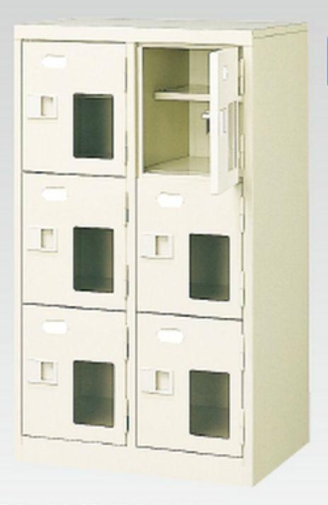 6人用シューズボックス(窓付き)(中棚付き)(鍵付き)(3段×2列) 【地域限定送料無料】 /MI-BST2-3HMXK(N)