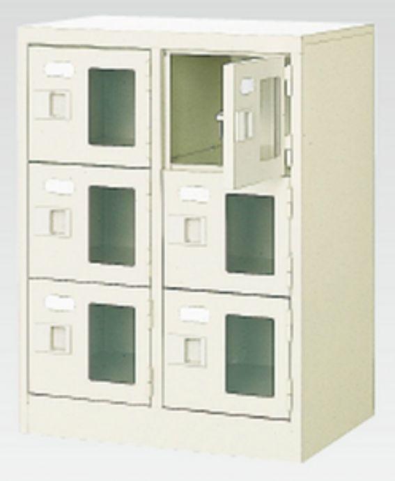 6人用シューズボックス(窓付き)(中棚なし)(鍵付き)(3段×2列) 【地域限定送料無料】 /MI-BST2-3WMXK(N)