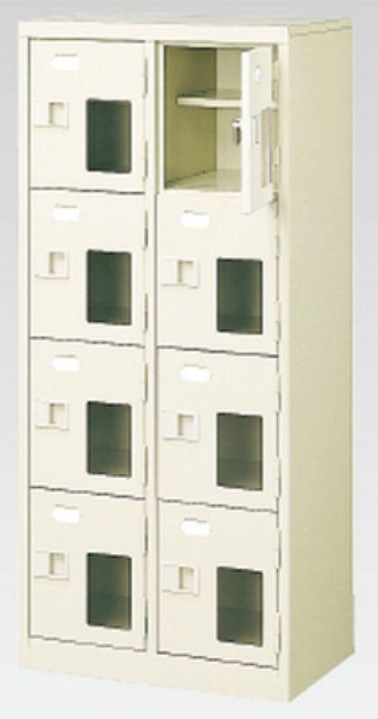 8人用シューズボックス(窓付き)(中棚付き)(鍵付き)(4段×2列) 【地域限定送料無料】 /MI-BST2-4HMXK(N)