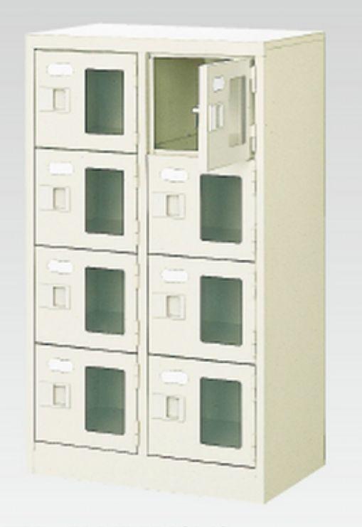 8人用シューズボックス(窓付き)(中棚なし)(鍵付き)(4段×2列) 【地域限定送料無料】 /MI-BST2-4WMXK(N)