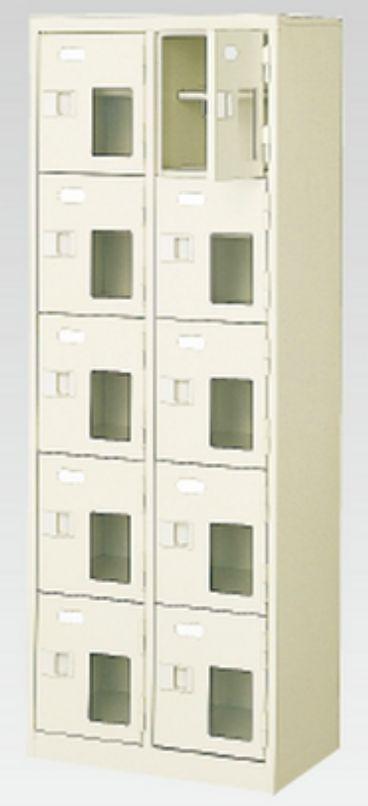 10人用シューズボックス(窓付き)(中棚付き)(鍵付き)(5段×2列) 【地域限定送料無料】 /MI-BST2-5HMXK(N)