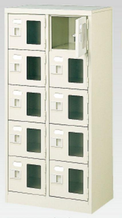 10人用シューズボックス(窓付き)(中棚なし)(鍵付き)(5段×2列) 【地域限定送料無料】 /MI-BST2-5WMXK(N)