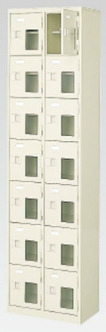 14人用シューズボックス(窓付き)(中棚付き)(鍵付き)(7段×2列) 【地域限定送料無料】 /MI-BST2-7HMXK(N)