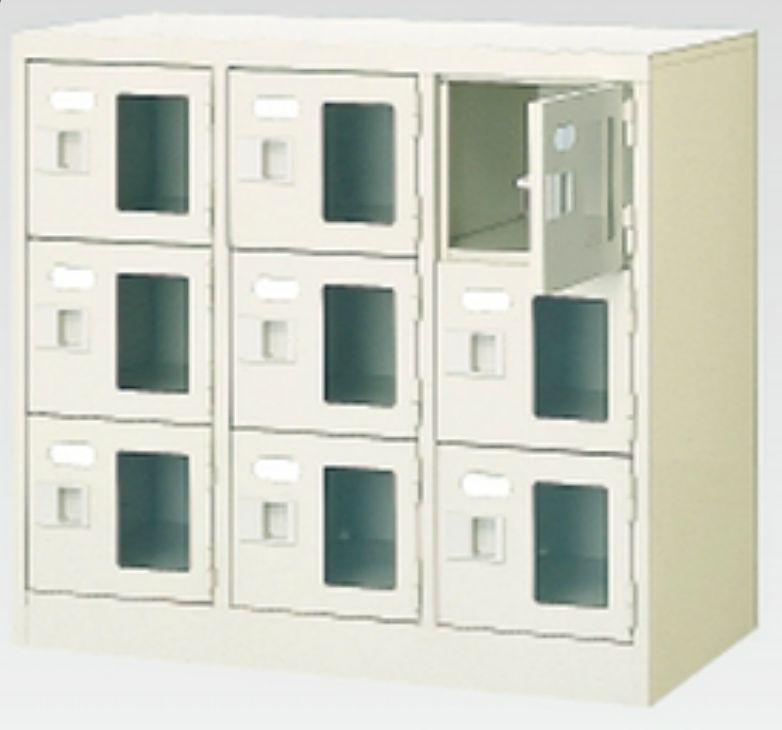 9人用シューズボックス(窓付き)(中棚なし)(鍵付き)(3段×3列) 【地域限定送料無料】 /MI-BST3-3WMXK(N)