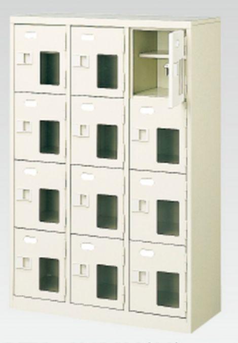 12人用シューズボックス(窓付き)(中棚付き)(鍵付き)(4段×3列) 【地域限定送料無料】 /MI-BST3-4HMXK(N)