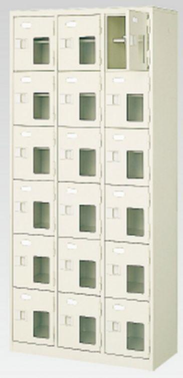 18人用シューズボックス(窓付き)(中棚付き)(鍵付き)(6段×3列) 【地域限定送料無料】 /MI-BST3-6HMXK(N)