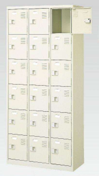 18人用シューズボックス(中棚なし)(鍵付き)(内寸H252)(6段×3列) 【地域限定送料無料】 /MI-BST3-6NNK(N)