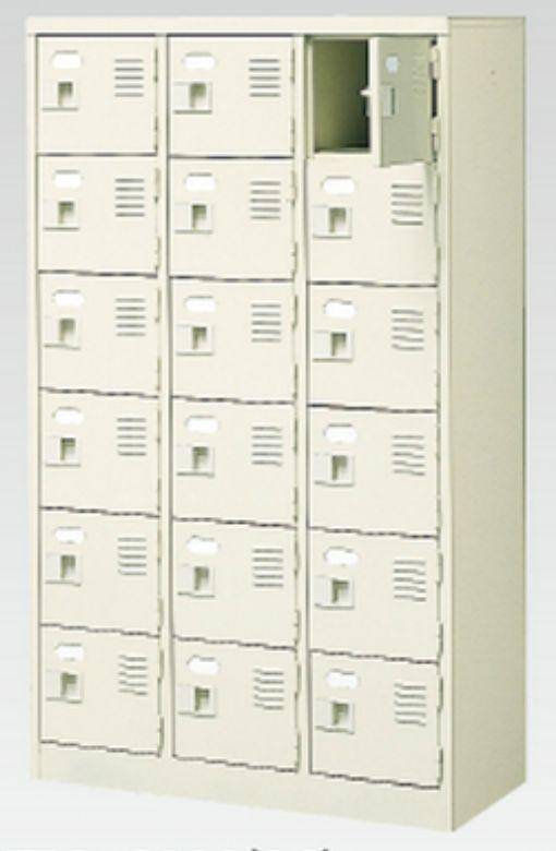 18人用シューズボックス(中棚なし)(鍵付き)(6段×3列) 【地域限定送料無料】 /MI-BST3-6WK(N)
