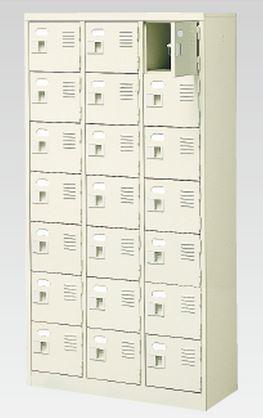 21人用シューズボックス(中棚なし)(鍵付き)(7段×3列) 【地域限定送料無料】 /MI-BST3-7WK(N)