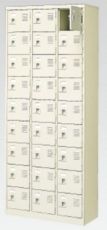 27人用シューズボックス(中棚なし)(鍵付き)(9段×3列) 【地域限定送料無料】 /MI-BST3-9WK(N)