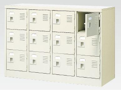 12人用シューズボックス(中棚なし)(鍵付き)(3段×4列) 【地域限定送料無料】 /MI-BST4-3WK(N)