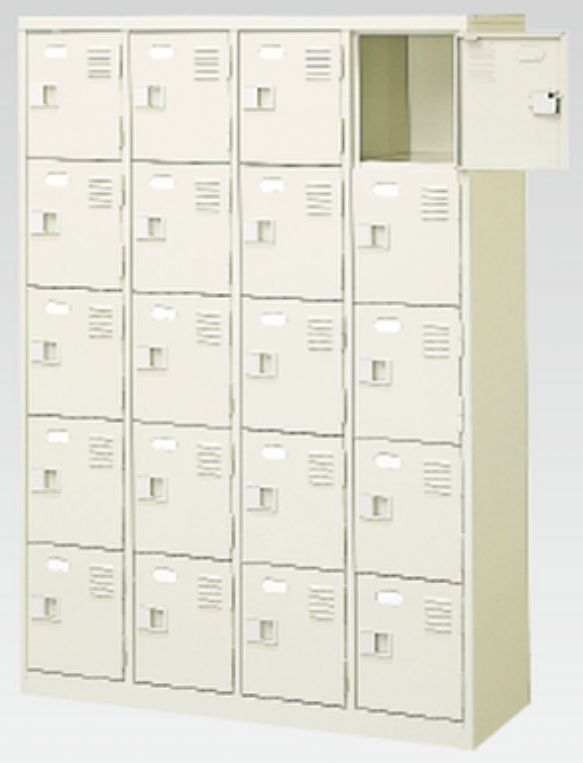 20人用シューズボックス(中棚なし)(鍵付き)(内寸H252)(4段×5列) 【地域限定送料無料】 /MI-BST4-5NNK(N)