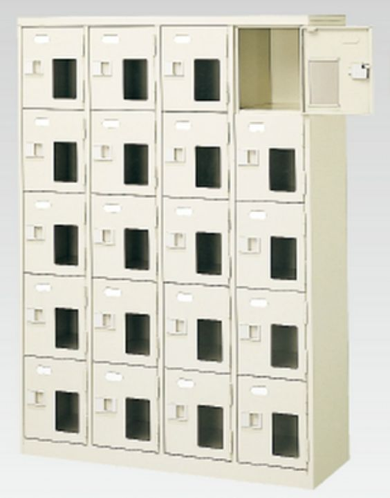20人用シューズボックス(窓付き)(中棚なし)(鍵付き)(内寸H252)(4段×5列) 【地域限定送料無料】 /MI-BST4-5NNMXK(N)