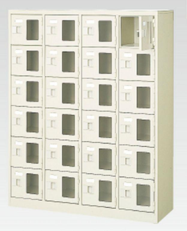24人用シューズボックス(窓付き)(中棚なし)(鍵付き)(6段×4列) 【地域限定送料無料】 /MI-BST4-6WMXK(N)