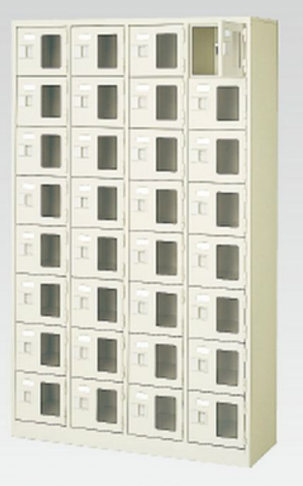 32人用シューズボックス(窓付き)(中棚なし)(鍵付き)(8段×4列) 【地域限定送料無料】 /MI-BST4-8WMXK(N)
