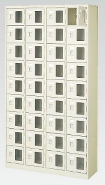 36人用シューズボックス(窓付き)(中棚なし)(鍵付き)(9段×4列) 【地域限定送料無料】 /MI-BST4-9WMXK(N)