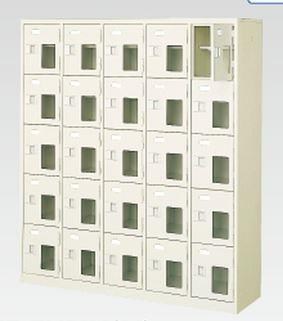 25人用シューズボックス(窓付き)(中棚付き)(鍵付き)(5段×5列) 【地域限定送料無料】 /MI-BST5-5HMXK(N)