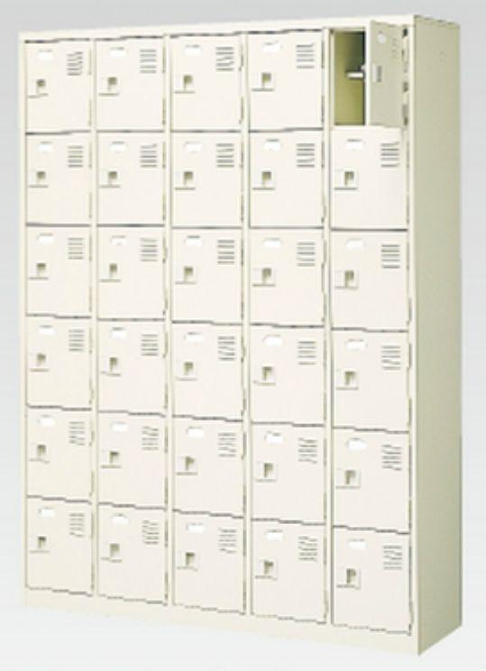 30人用シューズボックス(中棚付き)(鍵付き)(6段×5列) 【地域限定送料無料】 /MI-BST5-6HK(N)