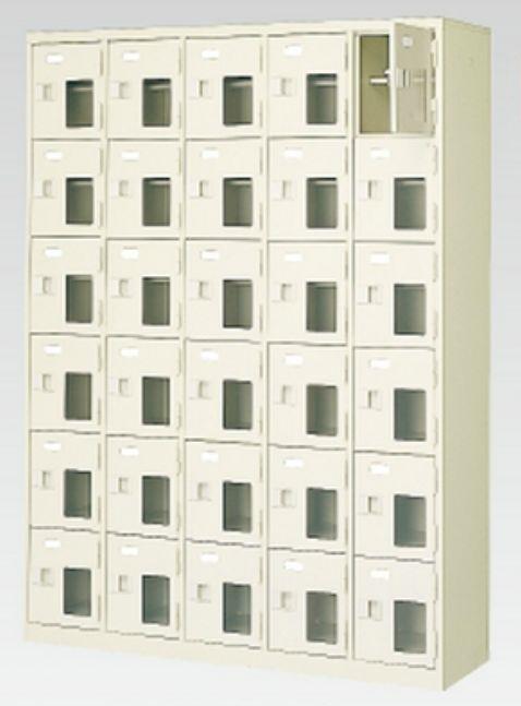 30人用シューズボックス(窓付き)(中棚付き)(鍵付き)(6段×5列) 【地域限定送料無料】 /MI-BST5-6HMXK(N)