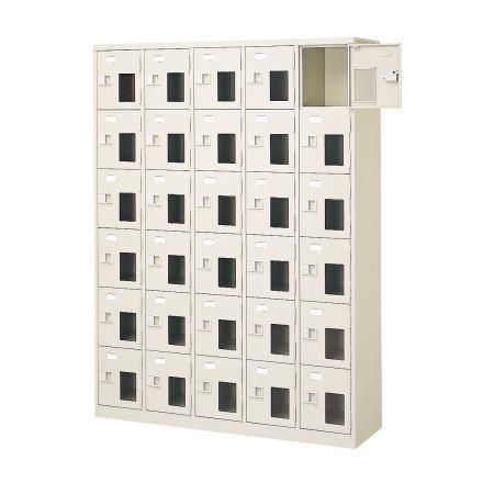 30人用シューズボックス(窓付き)(中棚なし)(鍵なし)(内寸H252)(6段×5列) 【地域限定送料無料】 /MI-BST5-6NNMX(N)
