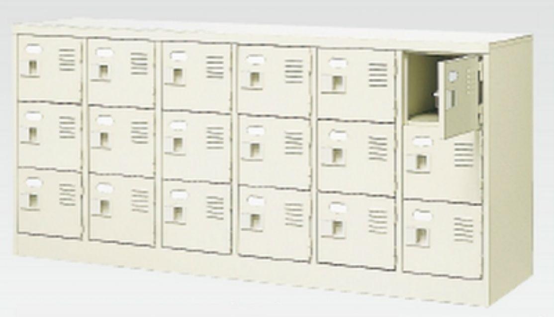 18人用シューズボックス(中棚なし)(鍵付き)(3段×6列) 【地域限定送料無料】 /MI-BST6-3WK(N)