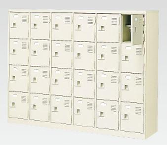 24人用シューズボックス(中棚付き)(鍵付き)(4段×6列) 【地域限定送料無料】 /MI-BST6-4HK(N)