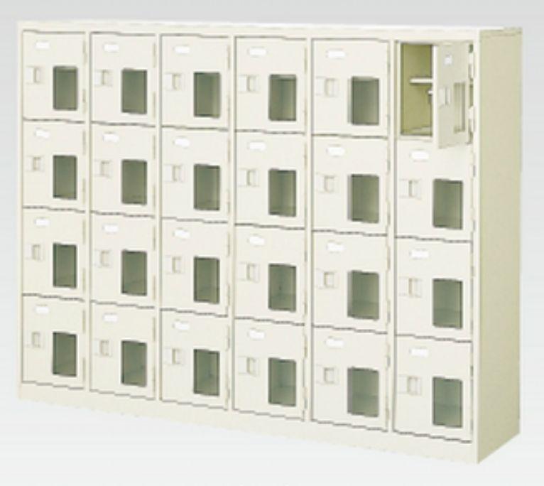 送料無料 至高 新品 24人用シューズボックス 窓付き 中棚付き 4段×6列 N 地域限定送料無料 MI-BST6-4HMXK 鍵付き バースデー 記念日 ギフト 贈物 お勧め 通販