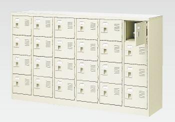 24人用シューズボックス(中棚なし)(鍵付き)(4段×6列) 【地域限定送料無料】 /MI-BST6-4WK(N)