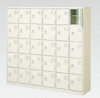 30人用シューズボックス(中棚付き)(鍵付き)(5段×6列) 【地域限定送料無料】 /MI-BST6-5HK(N)