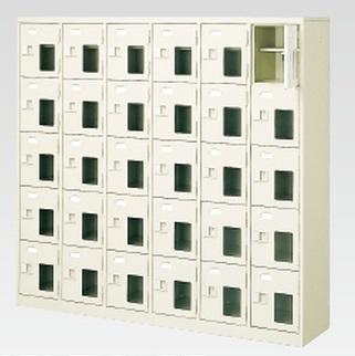 30人用シューズボックス(窓付き)(中棚付き)(鍵付き)(5段×6列) 【地域限定送料無料】 /MI-BST6-5HMXK(N)