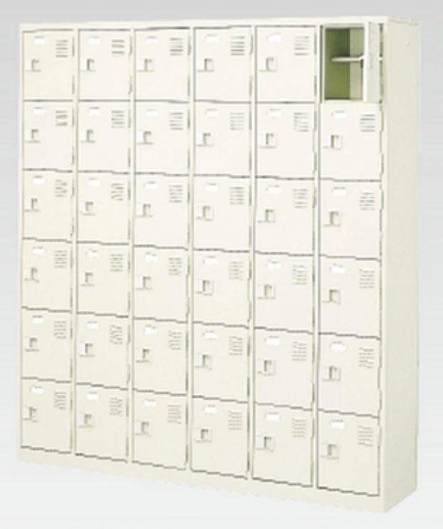 36人用シューズボックス(中棚付き)(鍵付き)(6段×6列) 【地域限定送料無料】 /MI-BST6-6HK(N)