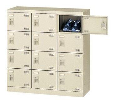 12人用シューズボックス シリンダー錠 合鍵2本付き 3列4段 【地域限定送料無料】/SE-SLB-M12-S2