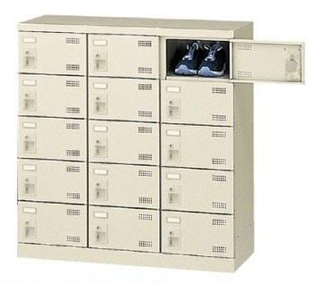 15人用シューズボックス シリンダー錠 合鍵2本付き 3列5段 【地域限定送料無料】/SE-SLB-M15-S2