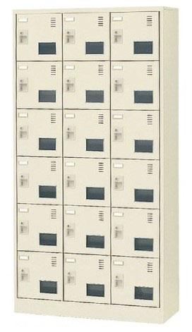 18人用シューズボックス シリンダー錠 合鍵2本付き 3列6段 窓付タイプ 【地域限定送料無料】/SE-SLC-18TW-S2