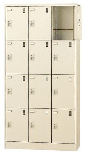 12人用シューズボックス 奥深 シリンダー錠 合鍵2本付き 3列4段 窓無タイプ 【地域限定送料無料】/SE-SLC-D12T-S2