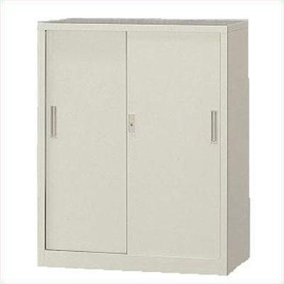A4対応 スチール戸引き違い書庫 高さ1120mm 下置用 アジャスター付 ホワイト /TO-3S-112-WH