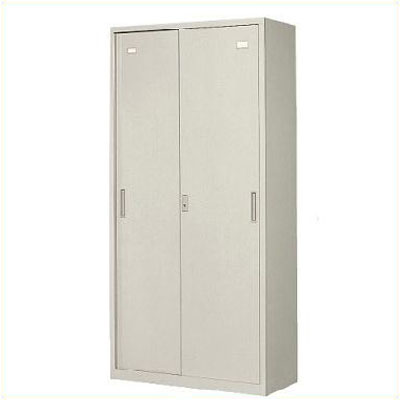 A4対応 スチール戸引き違い書庫 高さ1850mm 下置専用 アジャスター付 ホワイト /TO-3S-185-WH