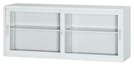 A4対応 ガラス戸引き違い書庫 高さ730×幅1800mm 上置専用 ホワイト /TO-6G-073-WH